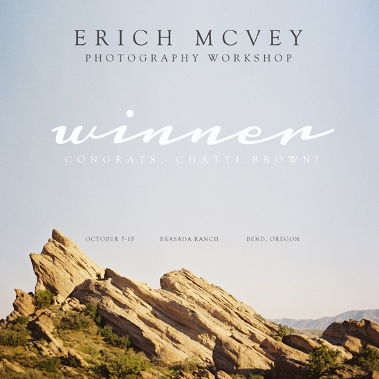 Erich McVey Photography Workshop Winner