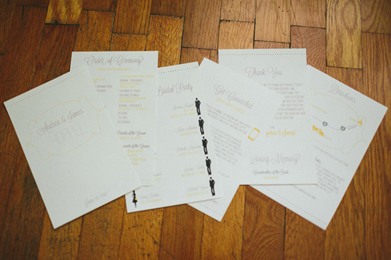 yellow and gray wedding stationary