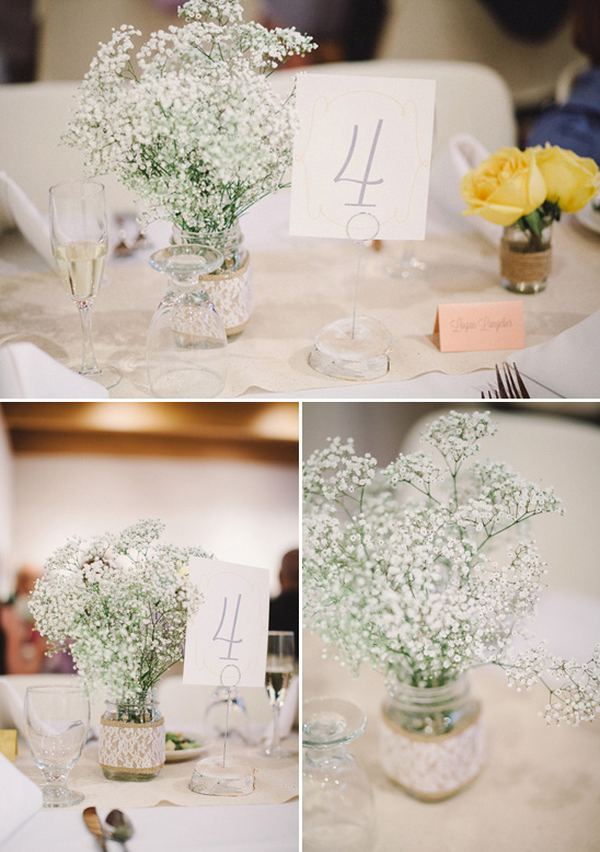 lace and burlap table decor