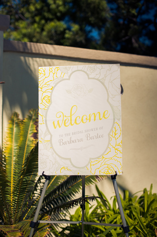 yellow and gray bridal shower sign by Cherish Paperie