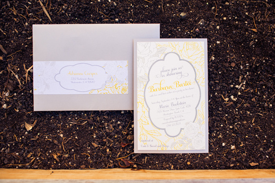 yellow and gray bridal shower invites by Cherish Paperie