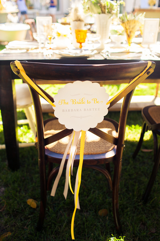 The Bride to Be chair sign by Cherish Paperie