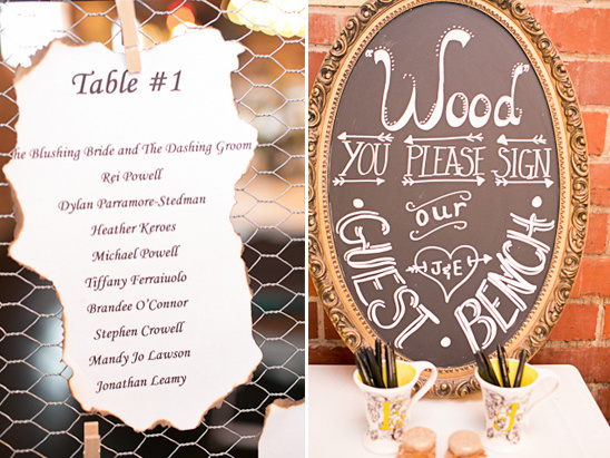 rustic escort card and guest book ideas