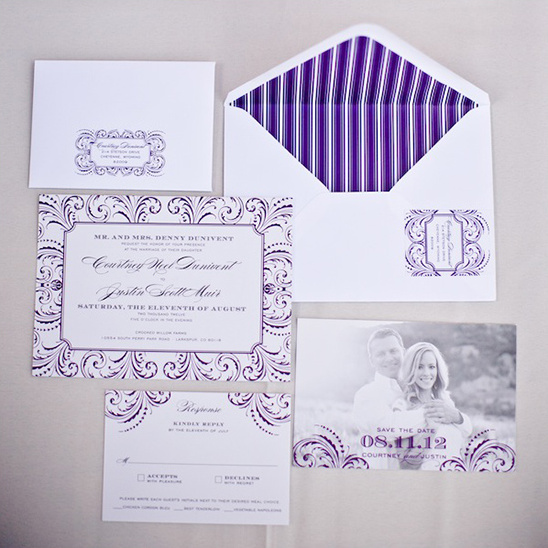 purple wedding invites by Belletristics