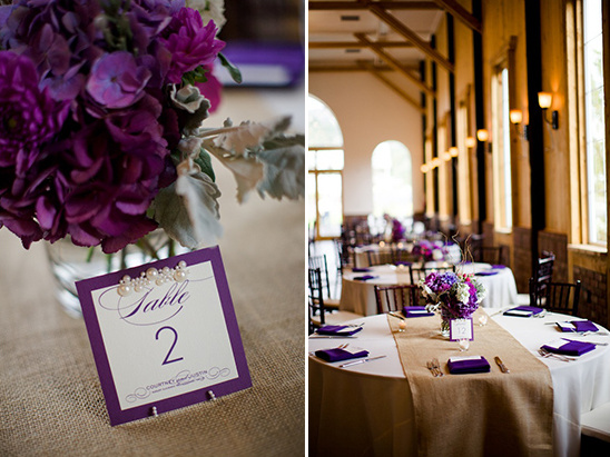 purple table center pieces