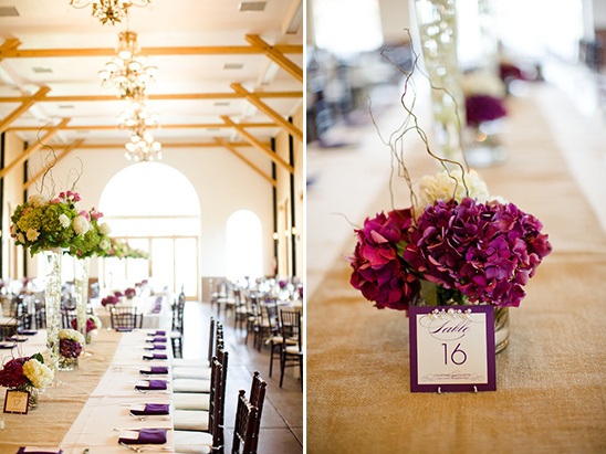 purple floral center pieces