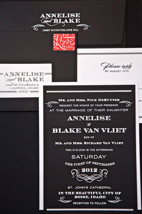 black and white wedding invites by Paisley Roberts