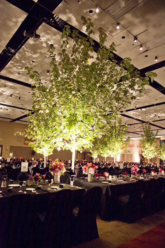 trees used as indoor reception decor