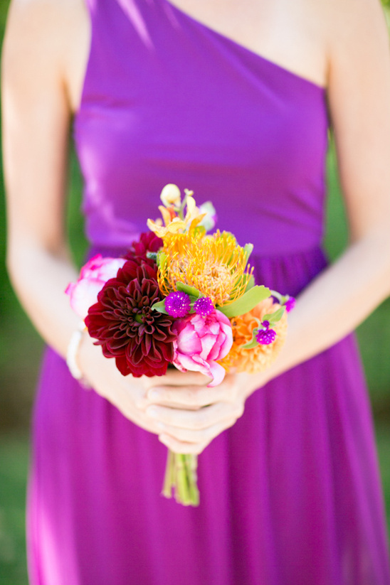small colorful bridesmaid bouquet by NLC Productions
