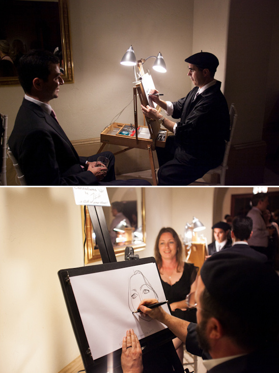 caricature artist at wedding reception