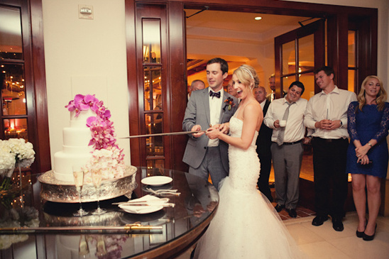 cake cutting with sword