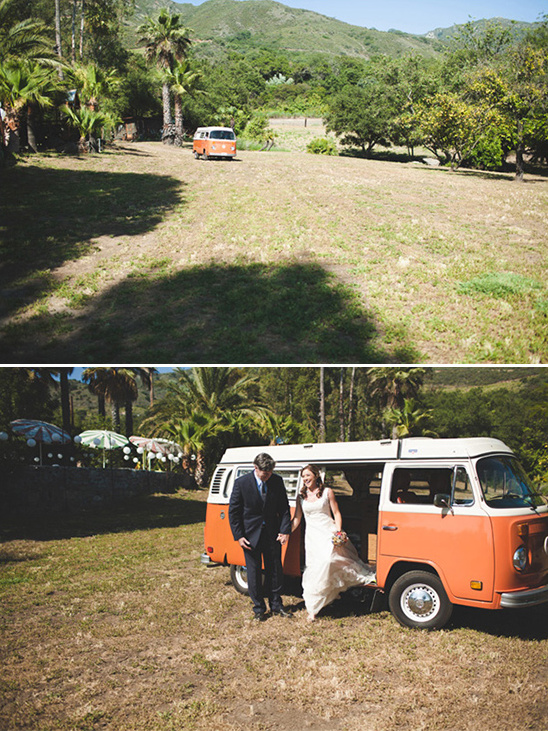here comes the bride in a VW from Vintage Surfari Wagons