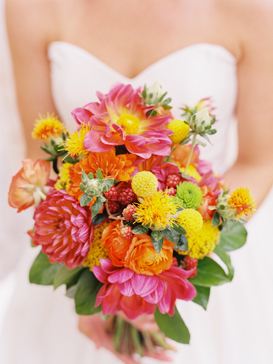 bright pink and yellow bouquet