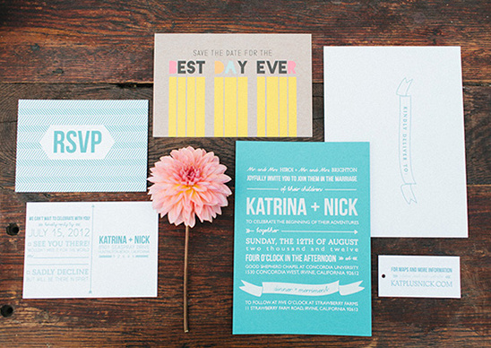 indie wedding invite designed by Bash Please