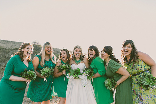 mix and match green bridesmaid dresses