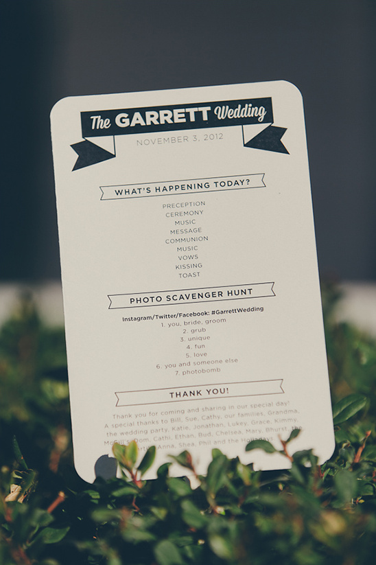 wedding program by The Quiet Society