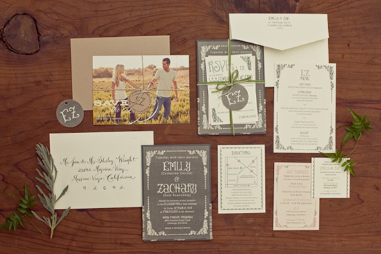 elegant grey invites by Paper Cut Industries