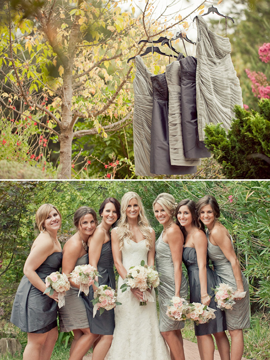 grey bridesmaid dresses by Monique Lhuillier