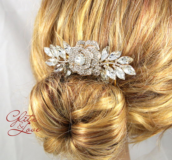 Rose gold garden theme hair comb