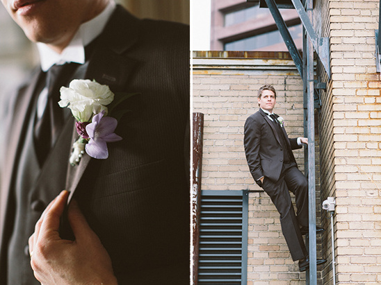 purple and black looks for the groom