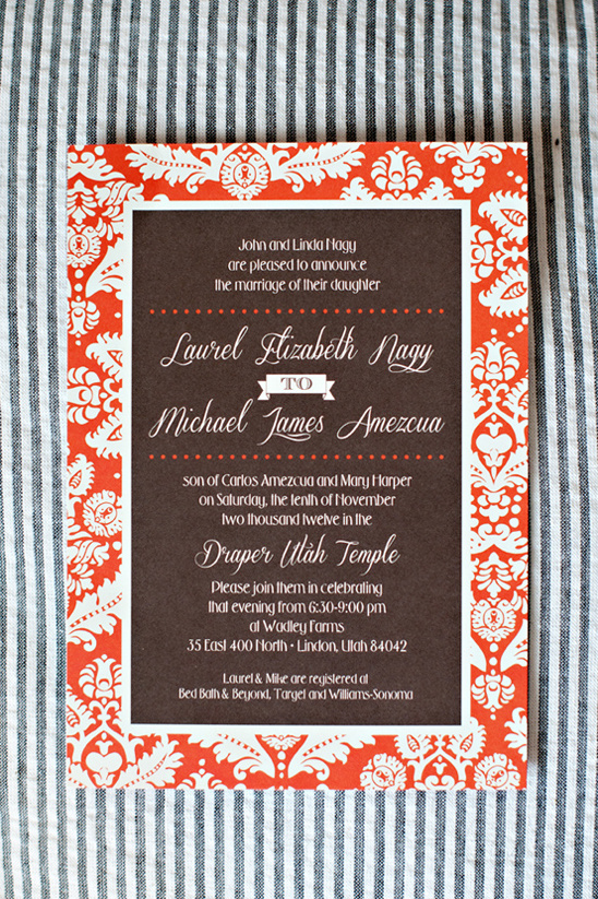 orange and brown wedding invite by Polka Dot & Daisies