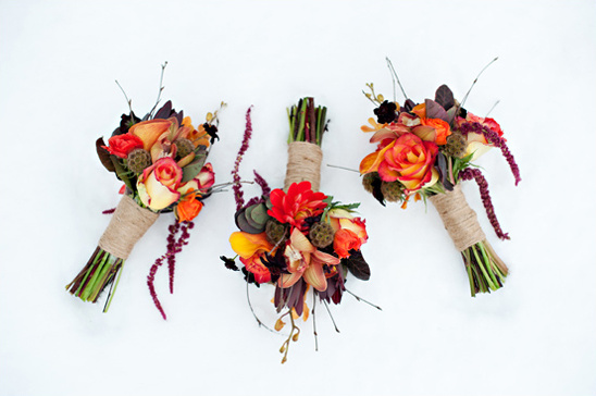 red, orange and purple wedding bouquets by Calie Rose Floral & Event Design