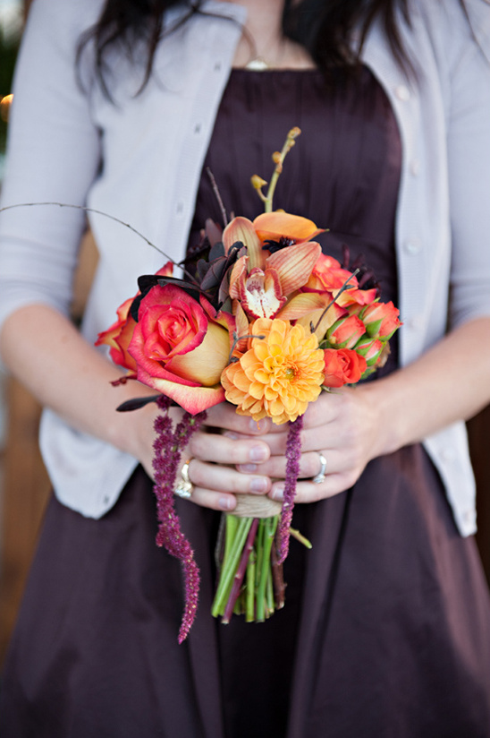 red, orange and purple bridesmaid bouquet by Calie Rose Floral & Event Design