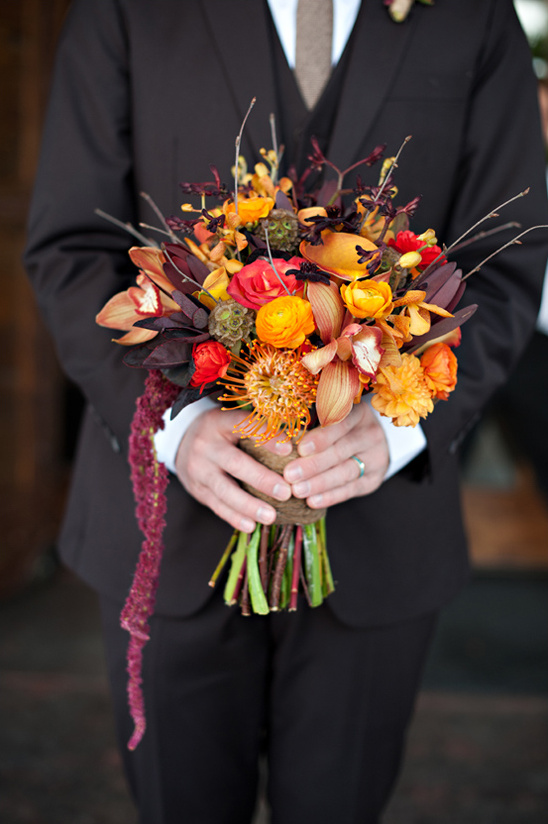 orange, red and purple bridal bouquet by Calie Rose Floral & Event Design