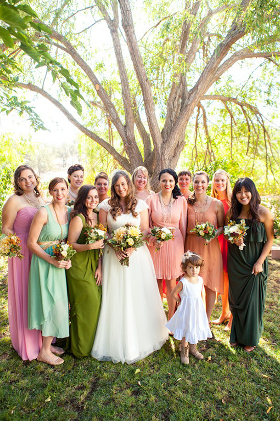 green and pink bridesmaid dresses