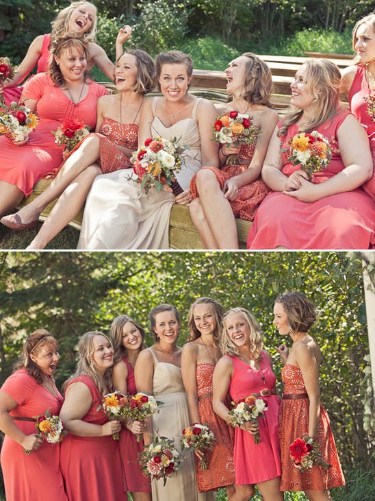 orange and coral bridesmaid dresses