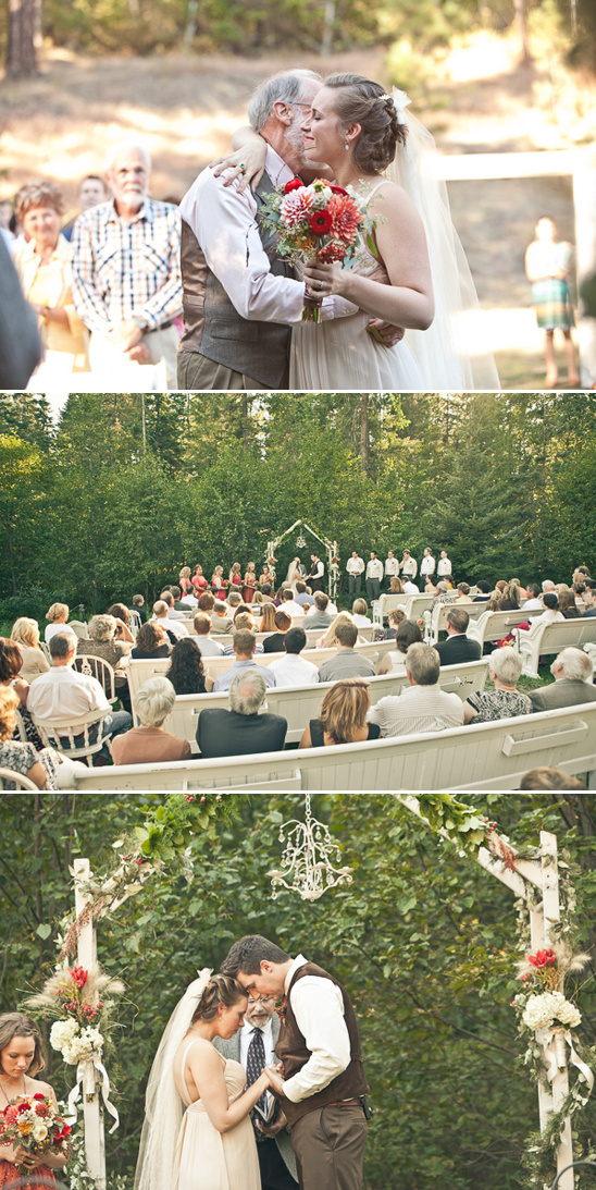 vintage outdoor wedding ceremony