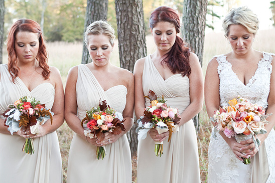 cream bridesmaid dresses and bouquets