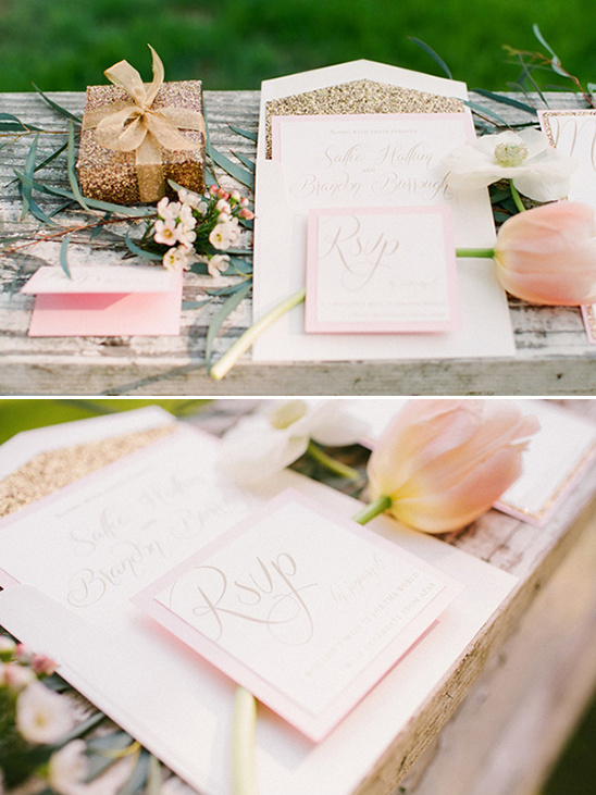 light pink wedding stationery by Hum Design Company