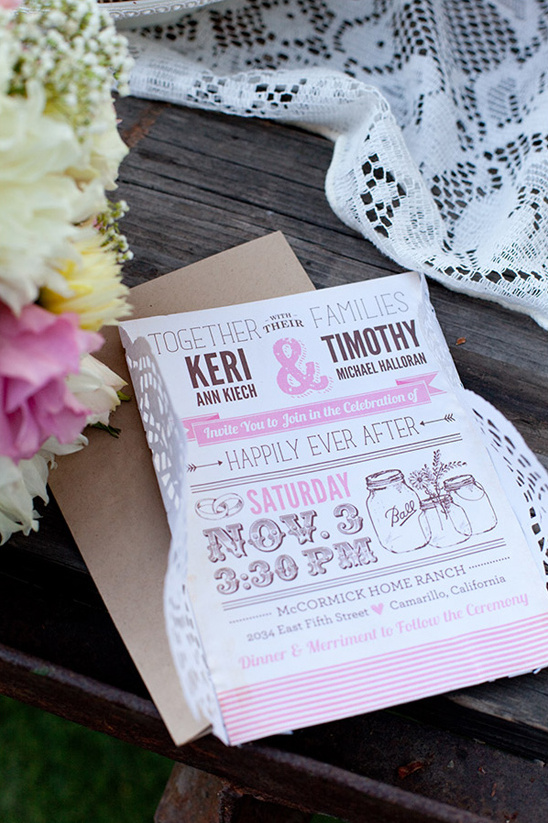 pink and brown wedding invites by Cadence Paige