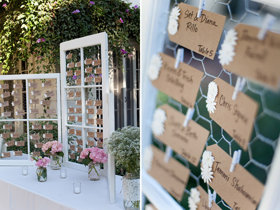 window and chicken wire escort card display