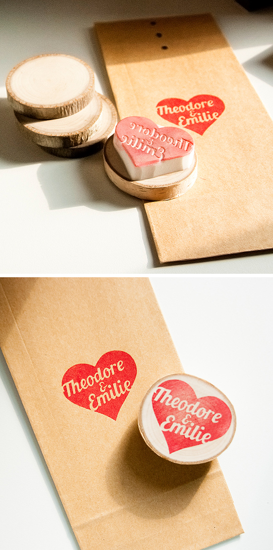 Custom Handmade Heart Rubber Stamp with Names