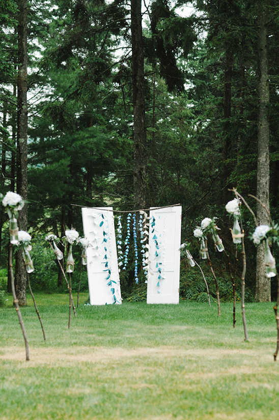 blue and white flower drapes