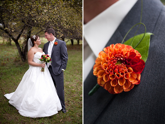 orange wedding boutonniere by Augusta Florist