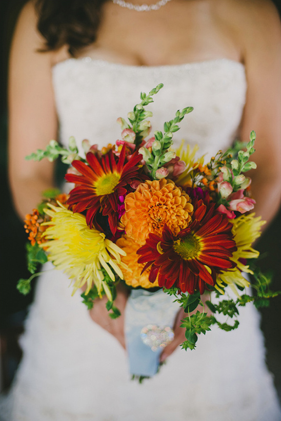 red orange and yellow bouquet by The Weed Lady