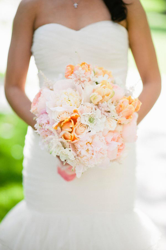 peach, pink and white bouquet by Green Leaf Designs
