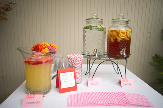 drink station at wedding ceremony