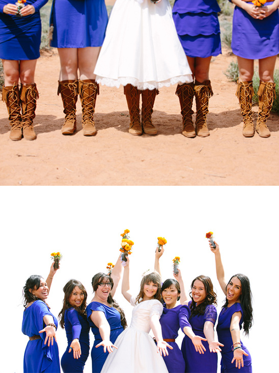 blue bridesmaid dresses with moccasins