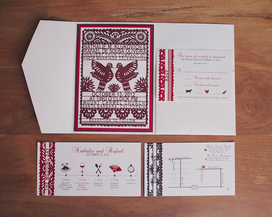 red and cream wedding invites