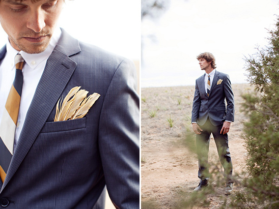 groomsman looks gold feather boutonnière