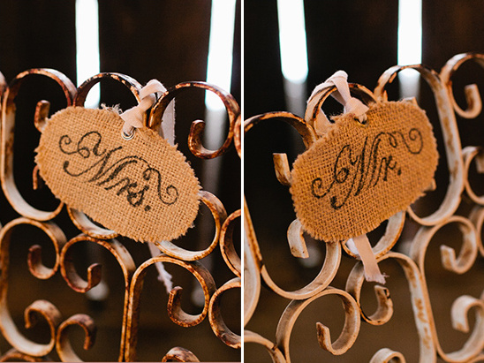 Mr. and Mrs. seat signs