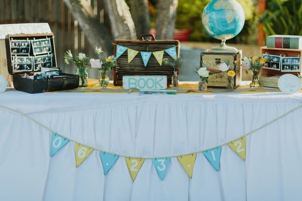 Travel-Themed Wedding in Blue and Yellow