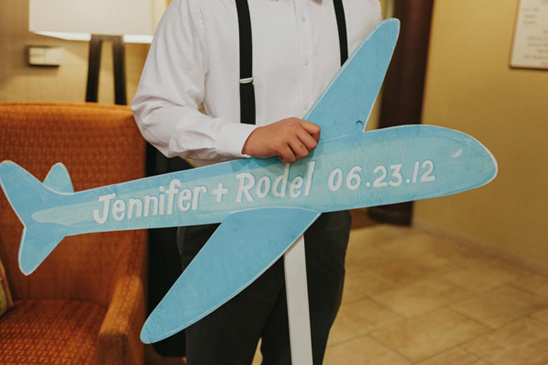 airplane wedding sign