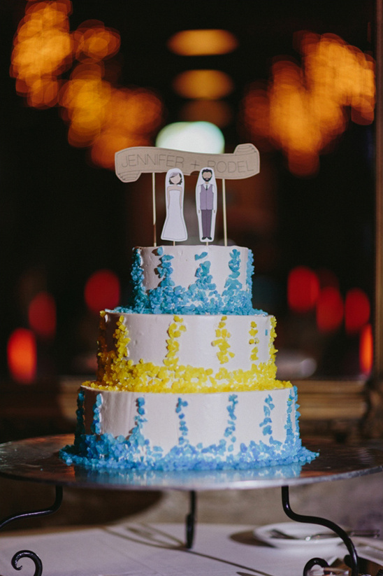 blue and yellow cake with custom cake topper by Ready Go