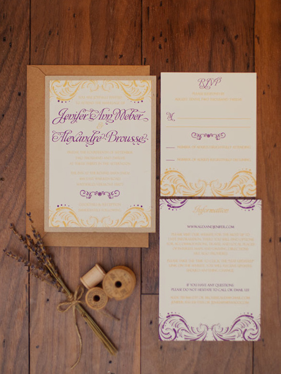 puple and gold wedding invites by Tweedle Press