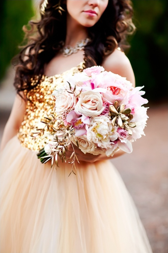 gold & pink wedding bouquet by Bloomers Floral